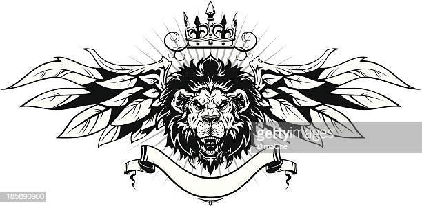 ilustrações, clipart, desenhos animados e ícones de leões cabeça com asas - coroa enfeite para cabeça