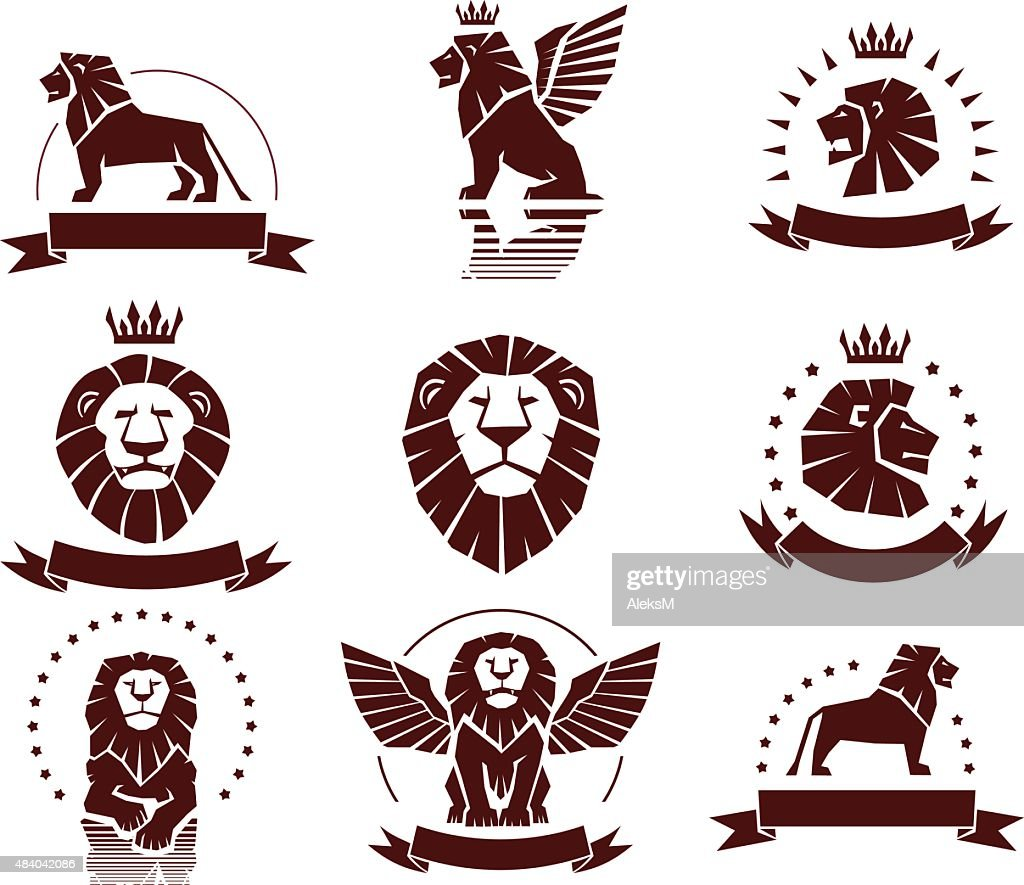 Lions Simple Emblems Set