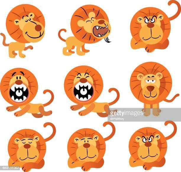 lions - animal mane stock illustrations