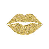 Lip icon with glitter effect, isolated on white background. Outline icon of mouth, vector pictogram. Symbol of kiss from golden particles dust