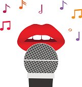 Lips and a microphone, red lips with a microphone, singing a song.