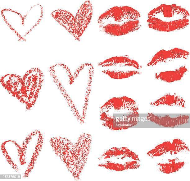 lips and hearts set - lipstick kiss stock illustrations, clip art, cartoons, & icons