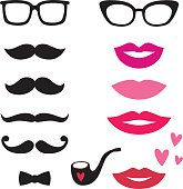 Lips and mustaches vector set