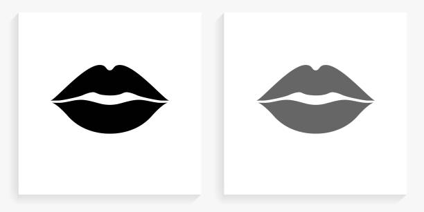 lips black and white square icon - lips stock illustrations