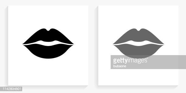 lips black and white square icon - human lips stock illustrations