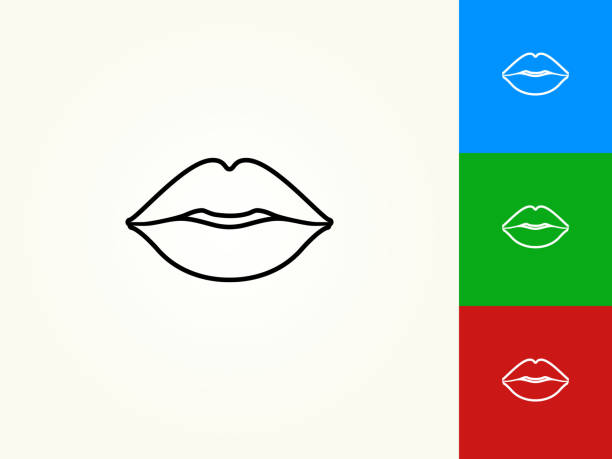 lips black stroke linear icon - lips stock illustrations