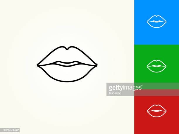 ilustrações, clipart, desenhos animados e ícones de os lábios preto traçado linear ícone - lábio