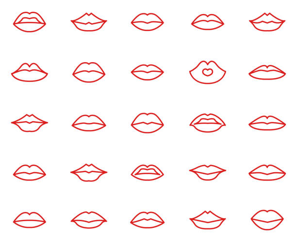 lips collection set - lips stock illustrations