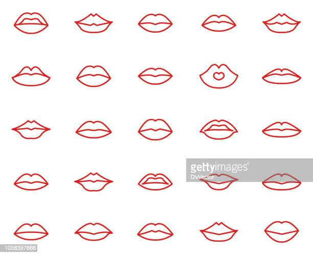 lips collection set - human mouth stock illustrations