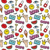 Lips Eyes and Jewelry Seamless Fashion Pattern