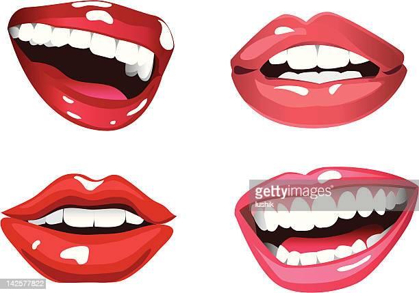 lippen glück - nahaufnahme stock-grafiken, -clipart, -cartoons und -symbole