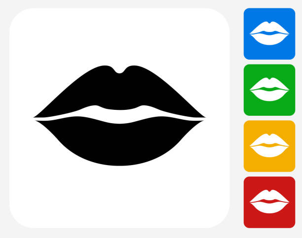 lips icon flat graphic design - lips stock illustrations