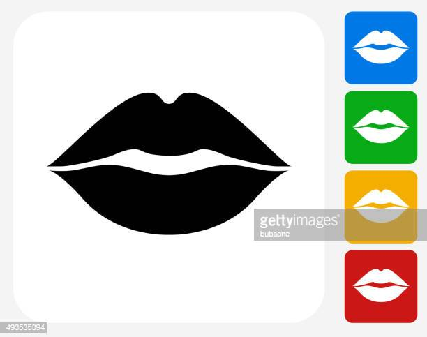 lips icon flat graphic design - human mouth stock illustrations, clip art, cartoons, & icons