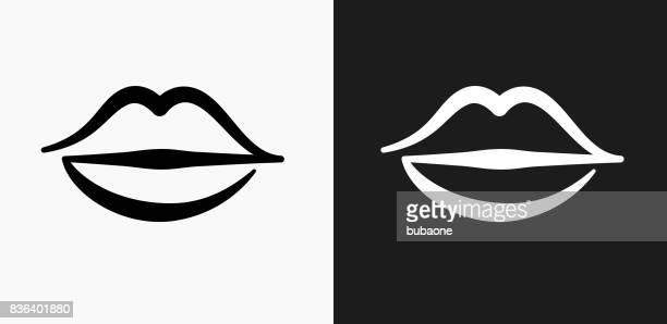 lips icon on black and white vector backgrounds - human lips stock illustrations
