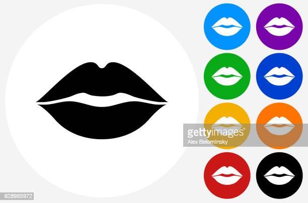 ilustrações, clipart, desenhos animados e ícones de lips icon on flat color circle buttons - lábio