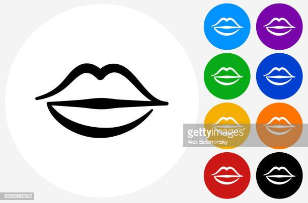 Lips Icon on Flat Color Circle Buttons