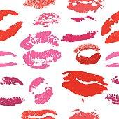 Lips print pattern vector illustration