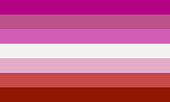 Lipstic lesbian pride flag without kiss sign - one of the sexual minority of LGBT community.