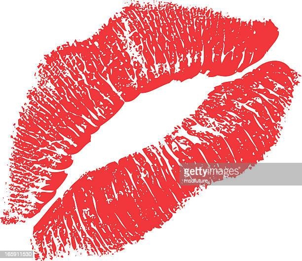 lipstick kiss - kiss stock illustrations