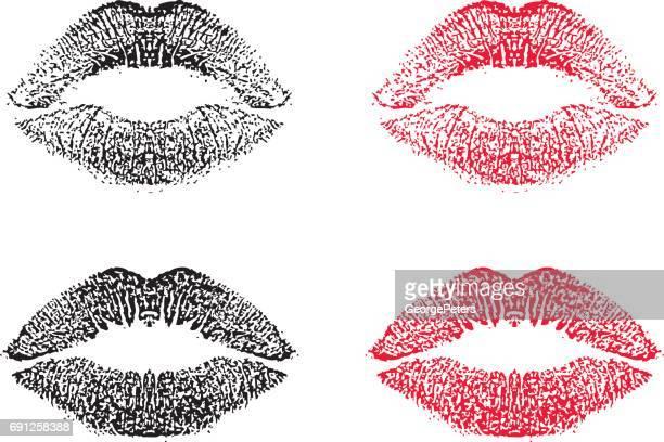 lipstick kiss, vector, illustration - lipstick kiss stock illustrations, clip art, cartoons, & icons