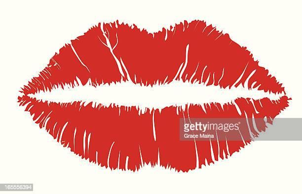 lipstick - vector - lipstick kiss stock illustrations, clip art, cartoons, & icons
