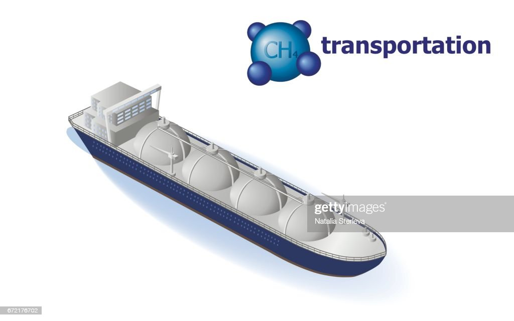 Liquefied natural gas transportation. LNG tanker, CH4 natural gas. Oil and gas industry infographics.