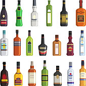 Liqueur, whiskey, vodka and other bottles of alcoholic drinks. Vector pictures in flat style