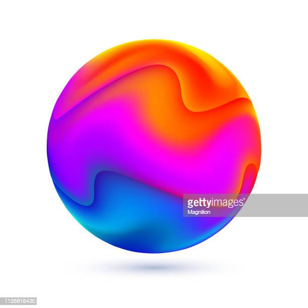 liquid colors abstract sphere - ball stock illustrations