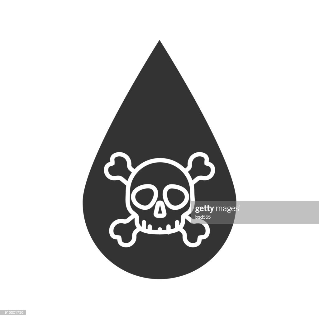 Liquid drop with skull and crossbones icon