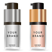 Liquid Foundation container mockup. 3d Vector Illustration. Cosmetic bottle package design isolated on white background.
