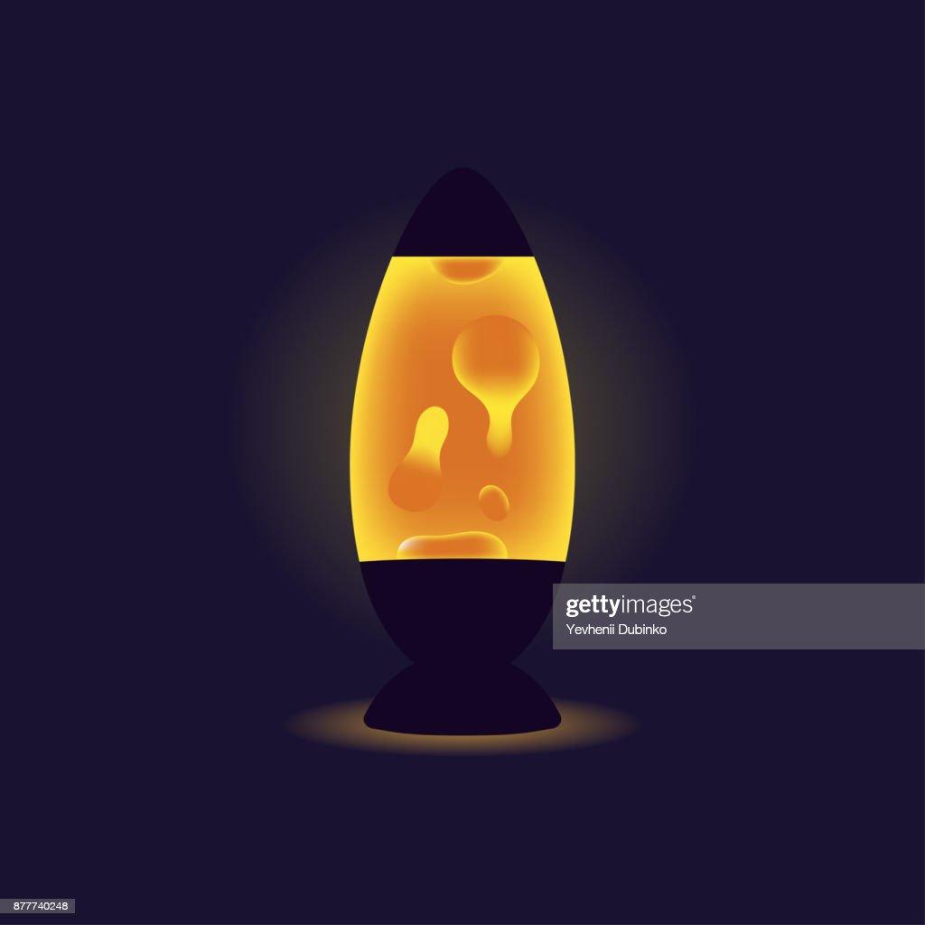 Liquid lamp. Orange lava lamp on dark background. Interior element