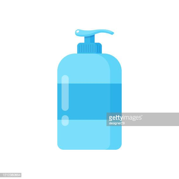 liquid soap and dispenser icon. hand cleaning for soap, disinfectant, hygiene concept vector design on white background. - rubbing alcohol stock illustrations