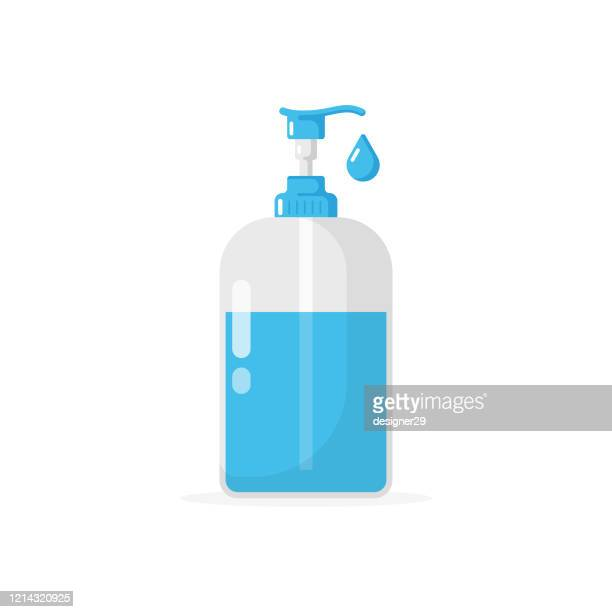 liquid soap and dispenser icon. hand cleaning for soap, disinfectant, hygiene concept flat design on white background. - rubbing alcohol stock illustrations