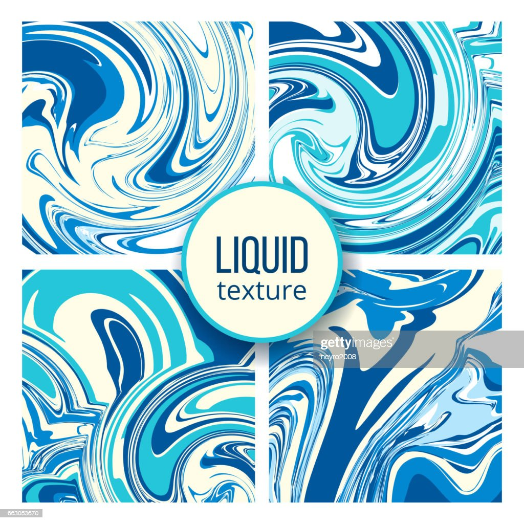 Liquid texture set. Trendy oil, marble or colored ink stains backgrounds vector illustration