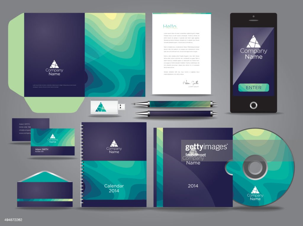 Liquid themed vector graphic business identity
