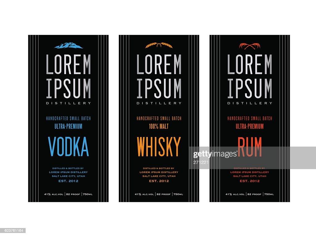 liquor bottle label designs for vodka, whiskey and rum
