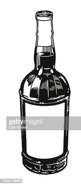 liquor bottle - scotch whiskey stock illustrations, clip art, cartoons, & icons