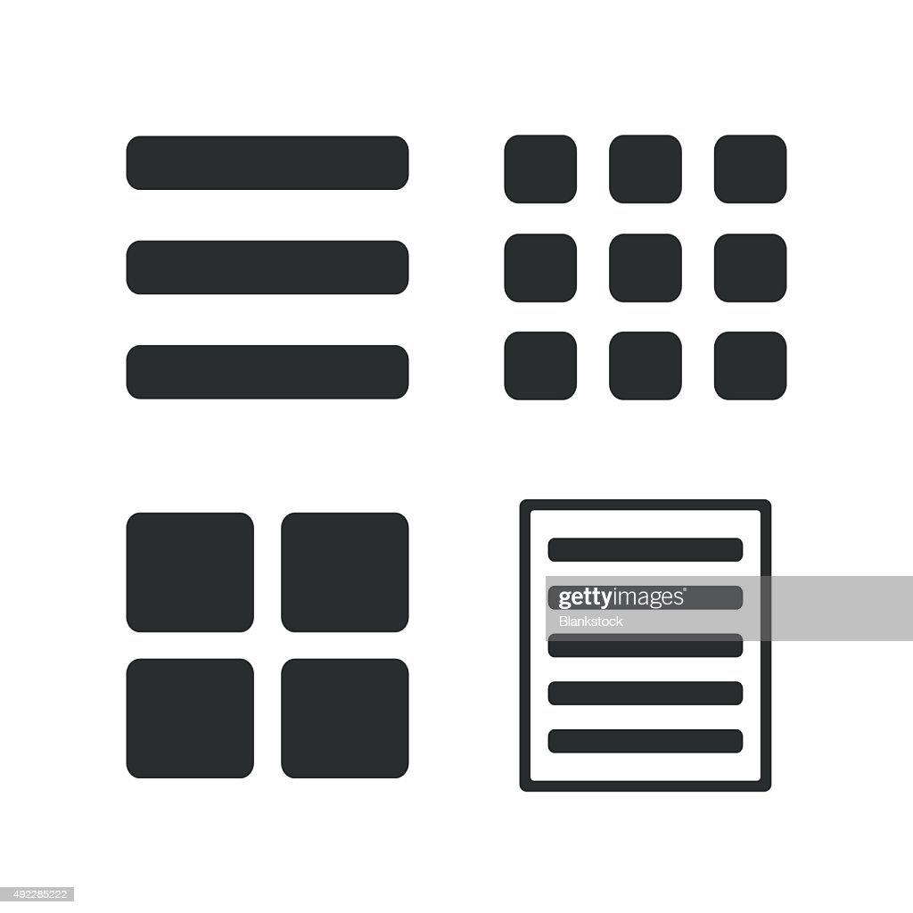 List menu icons. Content view options
