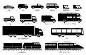 List of commercial landed vehicles transportation icons.