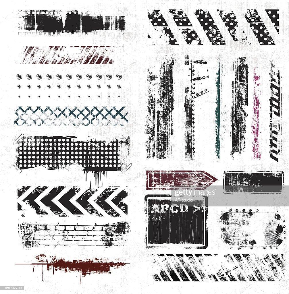 List of grunge elements on white background