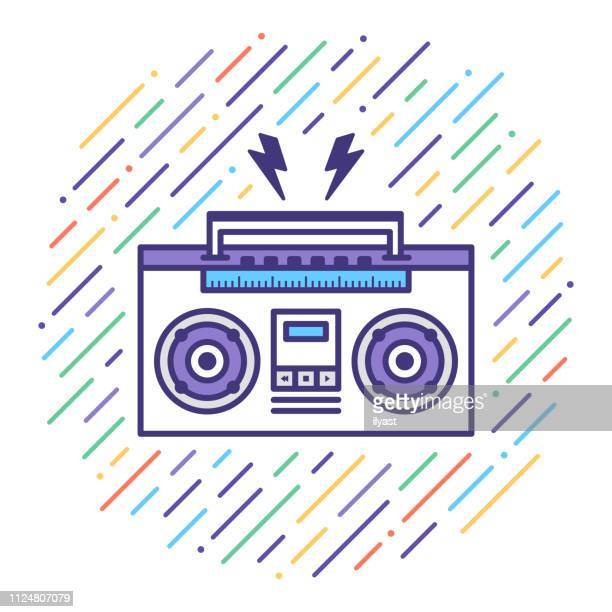 Listen Music Mix Flat Line Icon Illustration