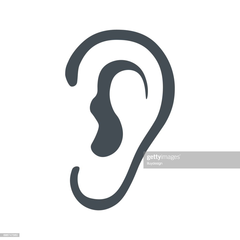 Listen symbol isolated on white background
