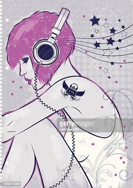 音楽を試聴する - punk rock点のイラスト素材/クリップアート素材/マンガ素材/アイコン素材