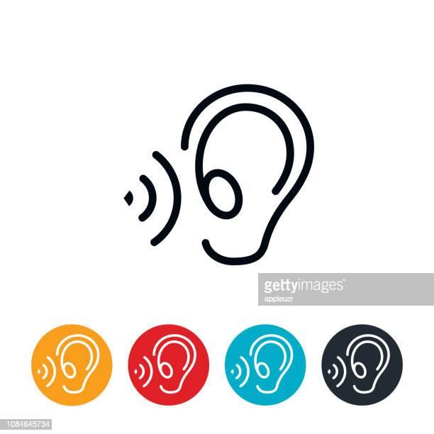 illustrations, cliparts, dessins animés et icônes de icône de l'oreille à l'écoute - oreille humaine