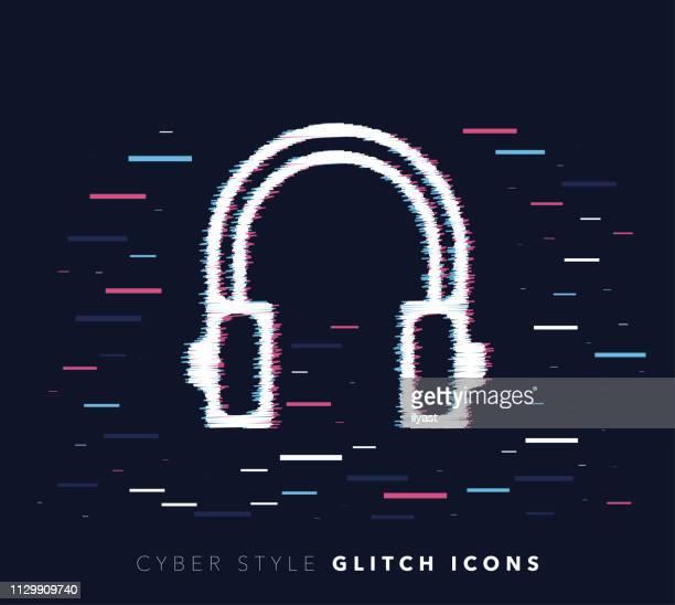 Listening Music Glitch Effect Vector Icon Illustration