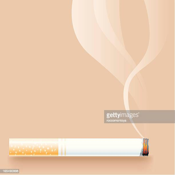 A lit cigarette with smoke on a beige background
