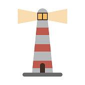 lit lighthouse icon image