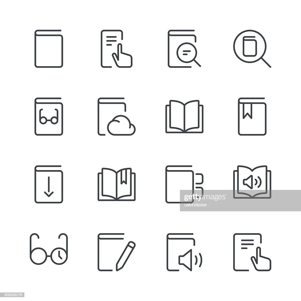 Literature and e-reading icons set 1 | Black Line series