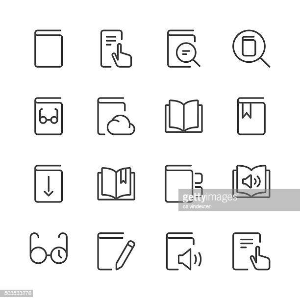 literature and e-reading icons set 1 | black line series - book stock illustrations