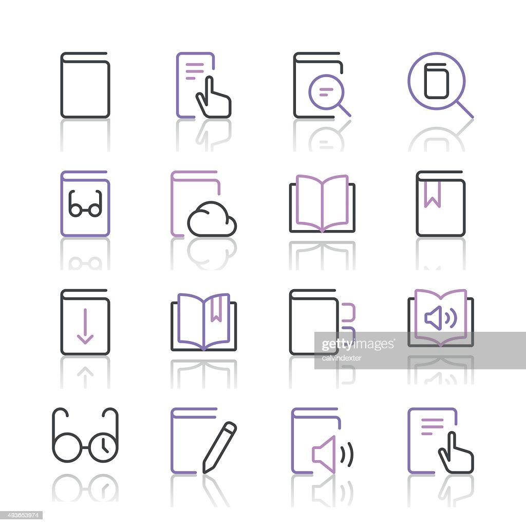 Literature and e-reading icons set 1 | Purple Line series